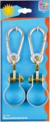 Merkloos / Sans marque 2x Schommelhaken met bevestigingsring en karabijnhaak - diameter bevestigingsring 5 cm - voor ophangen en bevestigen van schommels / voorwerpen - schommelhaken / karabijnhaken