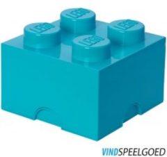 Blauwe LEGO Design Collection Brick opbergbox 4 - Azur blauw