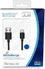 MediaRange USB naar iPhone/iPad Lightning kabel 3 meter zwart