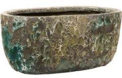 Groene Baq Design Baq Lava Oval M 38x24x19 cm Relic Jade bloempot binnen