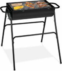 Relaxdays houtskool bbq - barbecue - rechthoekig - kolen bbq - houtskoolbarbecue - zwart