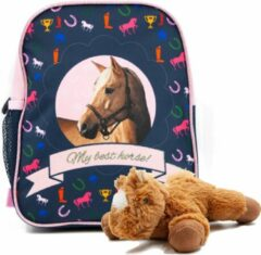 B&B Slagharen Rugtas blond Paard - Peuter Rugzak - 29 x 23 x 14 cm - Roze glitters- Meisjes rugtas - incl Paarden knuffel - pluche Pony 22 cm - bruin