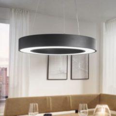 Wohnling LED-Deckenleuchte CIRCLE rund matt schwarz Metall EEK A+ Büro-Deckenlampe 48 Watt Ø 60 cm Design Arbeitsplatz Hängelampe 4080 Lumen kaltweiß
