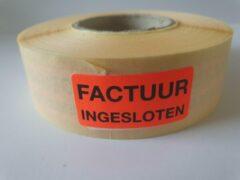 """Merkloos / Sans marque Sticker met """"Factuur Ingesloten"""" erop - Formaat: 40 x 20 mm - Materiaal: rood radiant"""