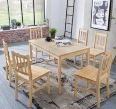 Wohnling Esszimmer-Set EMIL 7 teilig Kiefer-Holz Landhaus-Stil 120 x 73 x 70 cm Natur Essgruppe 1 Tisch 6 Stühle Tischgruppe Esstischset 6 Personen