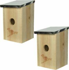 Bruine Decoris 2x stuks vogelhuisjes/nestkastjes van vurenhout 12 x 14 x 21 cm - Vogelhuisjes tuindecoraties