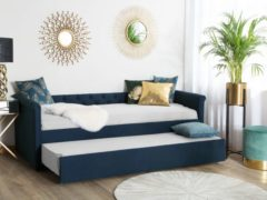 Marineblauwe Bedbank stof marineblau 80 x 200 LIBOURNE