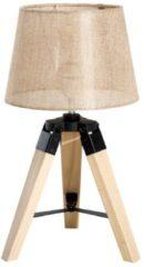 HOMCOM Tischlampe E27 Leinenoptik Kiefer Nachttischlampe Tischleuchte Schlafzimmer Lampe