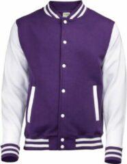 Awdis Paars met wit college jacket voor heren 2XL (46/56)