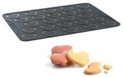 Grijze Macarons bakmat, hartjes large - Mastrad