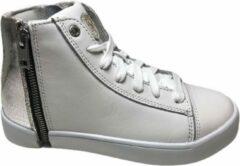 Zilveren Diesel vetersneakers 2 ritsen zip round wit silver mt 32