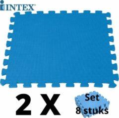 Blauwe 16 tegels - Intex Zwembad Ondergrond EVA Schuim Tegels - 2 x 8 stuks - Serie Krystel Clear - Zwembad looppad - Zwembadtegels - Vloertegels - Ondertegels - 50 x 50 x 1 CM + Serviceboek DjustADing