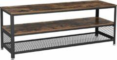 VASAGLE TV-tafel voor TV tot 60 inch, grote TV-kast, console, salontafel met metalen frame, slaapkamer, woonkamer, vintage bruin-zwart