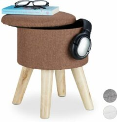 Relaxdays Krukje met opbergruimte - rond - poef - voetenbankje - hout - MDF - met deksel bruin