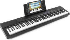 Zwarte Digitale piano - MAX KB6 digitale piano / keyboard met o.a. 88 aanslaggevoelige toetsen, sustainpedaal, mp3 speler en vele andere features