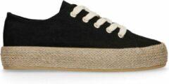 Sacha - Dames - Zwarte sneakers met touwzool - Maat 39