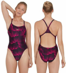 Roze Speedo Allover Turnback Badpak Dames, colourvibe black/electric pink Maat DE 40 | US 36