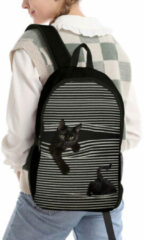 Rode Socofy-1 Oxford Black Cat Striped Pattern Printing Backpack