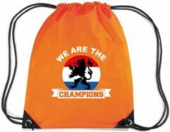 Bellatio Decorations We are the champions rugzakje - nylon sporttas oranje met rijgkoord - Nederland supporter - EK/ WK voetbal / Koningsdag
