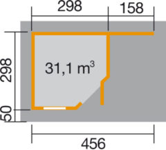 Rode WEKA | Designhuis 213 A | 298 x 456 cm | Zweeds rood