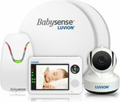 Witte Luvion Essential Babyfoon met Camera + Babysense 7 - Sensormatje - Veiligheidsvoordeelbundel