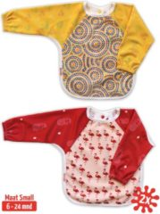 Rode KliederZ.nl Slab met mouwen set 2 stuks | KliederZ lange mouwslab 6 - 24 mnd | meisje babyslab Aboriginal Art & Flamingo LB01