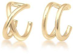 Goudkleurige Elli Oorbellen Oorringen earcuff set geo basic minimal 925 Sterling silver