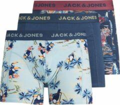 Blauwe JACK & JONES JUNIOR JACK&JONES ACCESSOIRIES JACTROPIC PINEAPPLE TRUNKS 3 PACK Heren Onderbroek - Maat L
