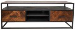HSM Collection TV Meubel Saint-Maxime 2 lades - 150x40x55 - Naturel/zwart - Acaciahout/ijzer