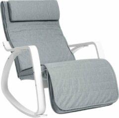 Nancy's Schommelstoel Met Voetensteun - Verstelbare Ligstoel - Relaxstoel - Fauteuil - Berkenhout - 150 kg belastbaar - Grijs