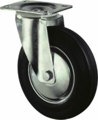 Kelfort Zwenkwiel, zwart rubber wiel met stalen velg en rollager, 205kg 200mm (Prijs per stuk)