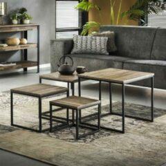 Zwarte Livin24 Industriële salontafel set Phine teakhout vierkant (set van 4)