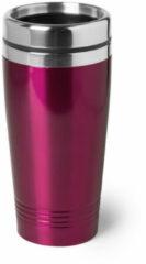 Bellatio Design Warmhoudbeker/warm houd beker metallic fuchsia roze 450 ml - RVS Isoleerbeker/thermosbekers reisbekers voor onderweg