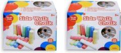 30x Gekleurd stoepkrijt in doosje - 10 cm - Stoepkrijten buiten speelgoed creatief - Krijtjes