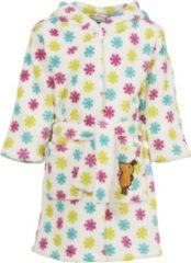 Witte Playshoes - Fleece badjas met capuchon - 'de muis' - bloemen - maat 86-92cm