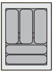 Zilveren Bestekbak Organiser universeel inzetbaar, 301 - 350 mm breed, 441 - 520 mm diep.