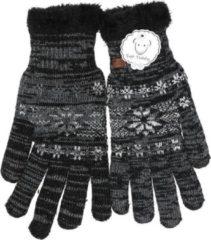 Merkloos / Sans marque Gebreide winter handschoenen zwart met Nordic print voor heren