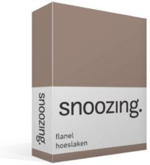 Snoozing Flanel Hoeslaken - 100% Geruwde Flanel-katoen - Lits-jumeaux (160x200 Cm) - Taupe