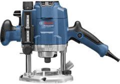 Blauwe Bosch Professional Bovenfreesmachine GOF 1250 CE (19mm moersleutel, centreerstift 8mm, 17mm kopieerhuls, parralelgeleider, SDS kopieer huls)
