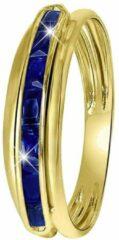 Donkerblauwe Lucardi 14 Karaat geelgouden ring rail met saffier
