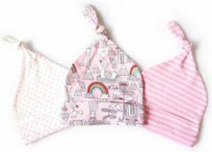 Roze JillyBee - Newborn - Mutsje - Mutsjes - 3pack - Regenboog - Gestreept - Stipjes