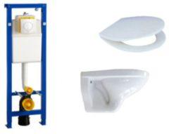 Adema Classico toiletset bestaande uit inbouwreservoir en toiletpot basic toiletzitting en bedieningsplaat wit SW204235