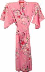 TA-HWA Traditionele Japanse Kimono Yukata Roze met Bloemen Dames Nachtmode kimono One Size
