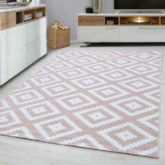 Plus Vloerkleed - Diamond - Rechthoek - Roze - 200 x 290 cm - Vintage, Patchwork, Scandinavisch & meer stijlen vind je op WoonQ.nl