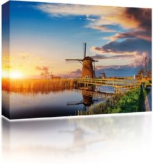Blauwe Sound Art - Canvas + Bluetooth Speaker Dutch Windmill (23 x 28cm)