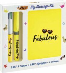Gele Bic Message Kit Fabulous, balpen 4 colours, markeerstift highlighter en notitieboekje ft A6