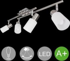 Wohnling 4-flammiger LED-Strahler Warmweiß EEK A+ inkl. 4x4 Watt Leuchtmittel Drehbare Deckenlampe zwei Arme IP20 Fassung E14 LED Diele Flur Deckenl