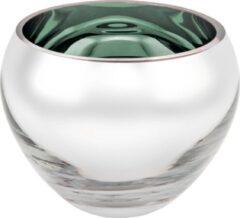 Rawa Geschenken Luxe waxinelicht houder sicore glas - aqua groen gekleurd en zilver - kaarshouder glas- kaarstandaard mondgeblazen