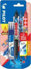 Pilot roller FriXion Clicker Mika, blister van 3 stuks in geassorteerde kleuren + gratis refill