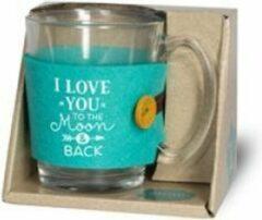 """Turquoise Snoepkado.com Valentijn - Verjaardag - Theeglas - I love you - Gevuld met verpakte Italiaanse bonbons - Voorzien van een zijden lint met de tekst """"Speciaal voor jou"""" In cadeauverpakking met gekleurd lint"""